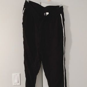 Black Draw String Pants with White Stripe